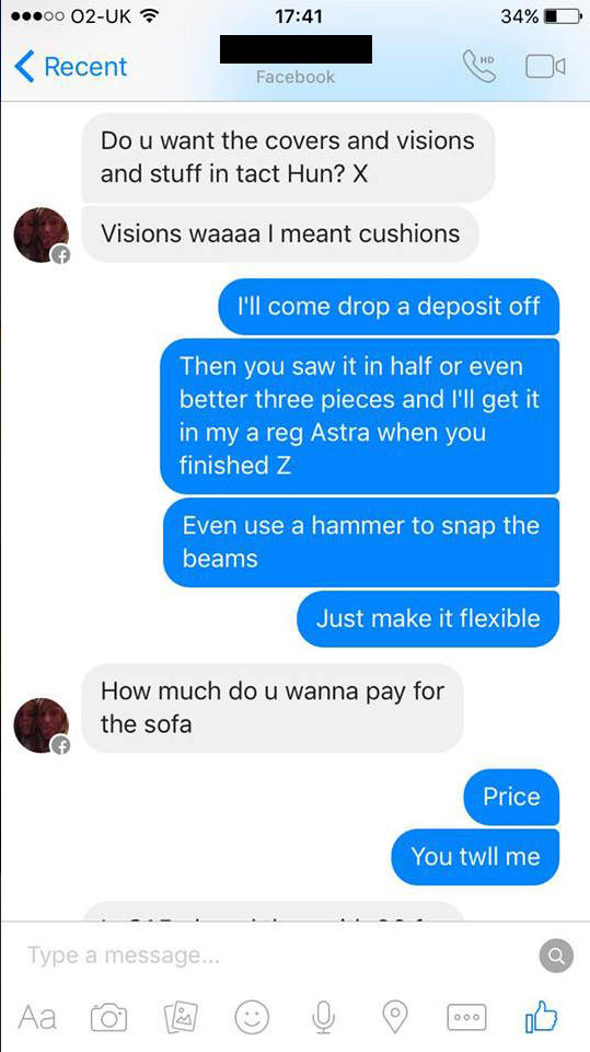 Woman Tries To Sell Broken Sofa, Guy Teaches Her Epic Lesson UNILAD couch troll new 444433