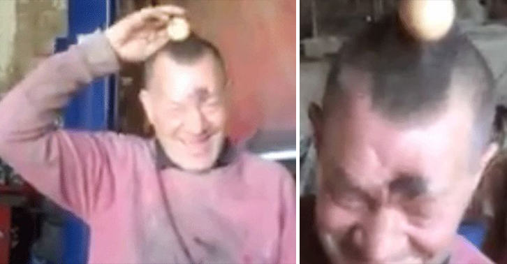 Mechanic Cracks Up When He Realises Prankster Mates Have Superglued An Egg To His Head UNILAD egg prank 965741829