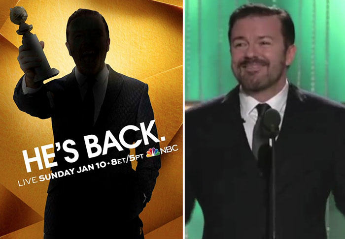 Ricky Gervais Is To Host The 2016 Golden Globes For A Fourth Time UNILAD gervais329543