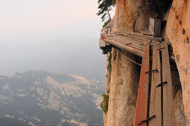 Dangerous walkway at top of holy Mount Hua Shan, China