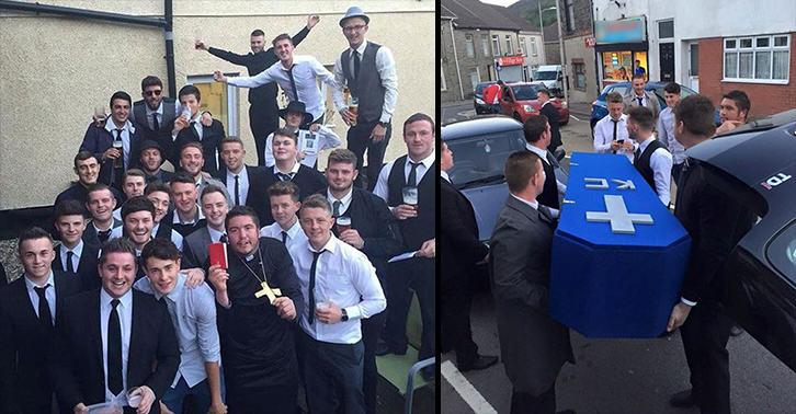 Lads Hold Surprise Funeral For Mate After He Gets Himself A Girlfriend UNILAD mock funeral 4333697486