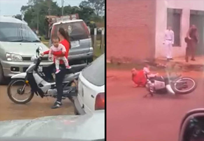 Mother Crashes Moped While Driving With One Hand And Holding Baby UNILAD mother moped WEB61151