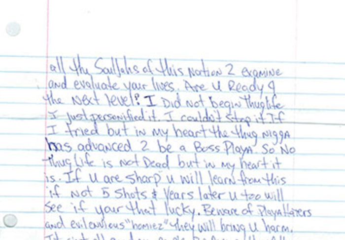 Letter Penned By Tupac From Prison Before His Death Is Leaked UNILAD pac18