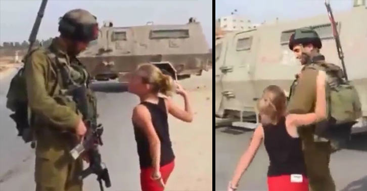 Powerful Footage Shows Palestinian Girl, 10, Confronting Israeli Soldier UNILAD palestine girl 717495576