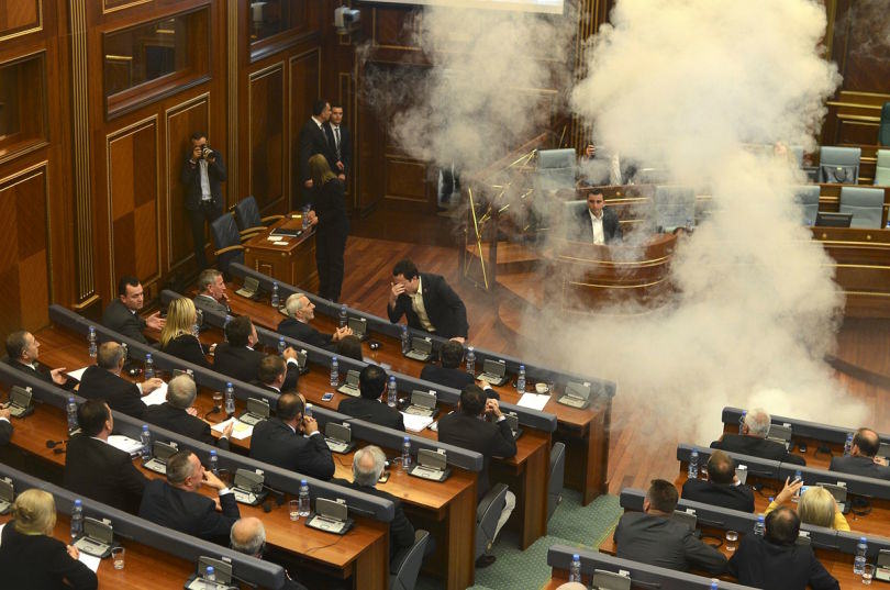 Politicians In Kosovo Are Tear Gassing Each Other During Parliamentary Meetings UNILAD tear gas kosovo8
