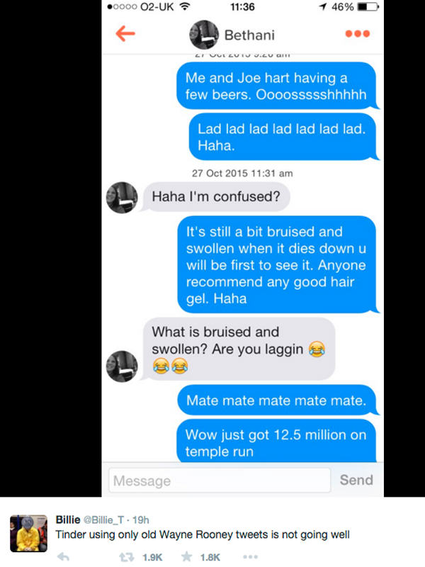 Tinder User Messaged Girls Using Only Wayne Rooney Tweets, It Didnt Go Well UNILAD tinder rooney 344285