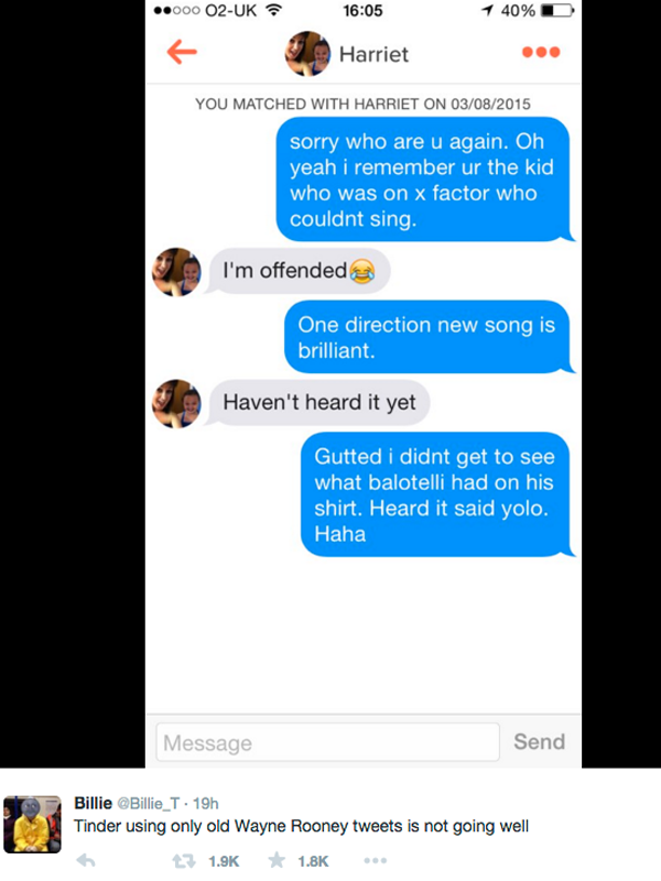 Tinder User Messaged Girls Using Only Wayne Rooney Tweets, It Didnt Go Well UNILAD tinder rooney 468292