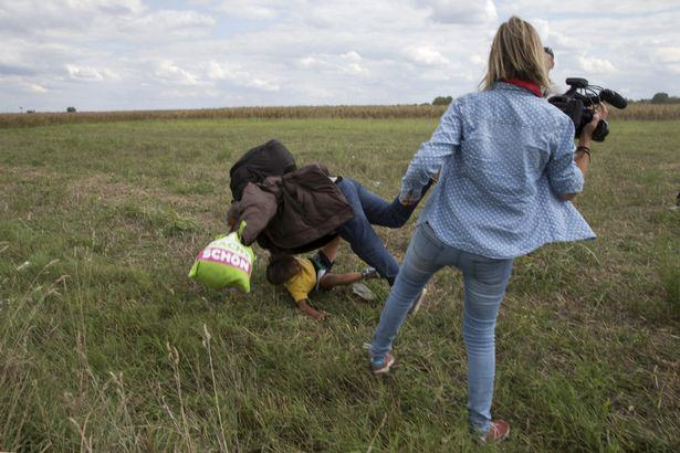 Hungarian Camerawoman Who Kicked Refugee Now Plans To Sue Him UNILAD tripping Migrant67643