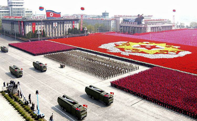 A North Korean missile unit takes part in a military parade in Pyongyang