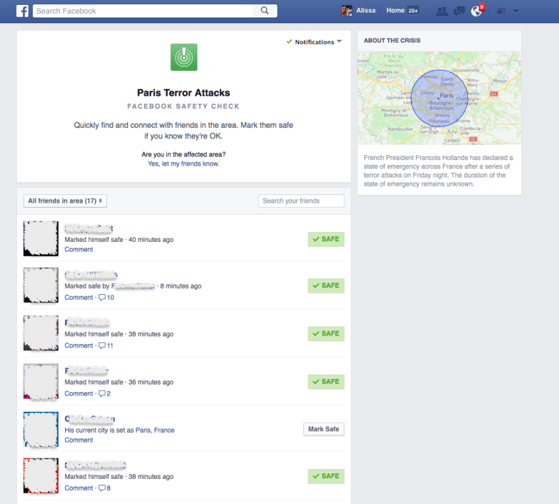 Facebook Safety Check Feature Lets People Report They Are Safe In Paris UNILAD 151780106935037520182806