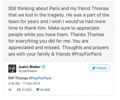 Justin Bieber Shares Emotional Tribute To Friend Who Died In Paris Attacks UNILAD BEEBSTWEET80527