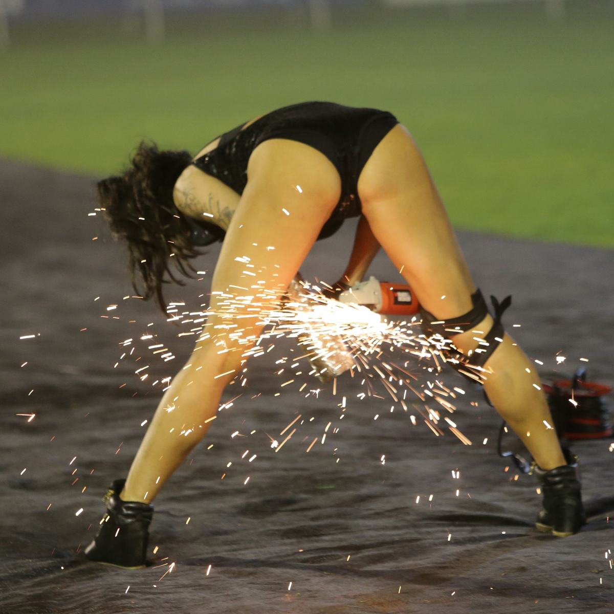 Mayor Hired Leather Clad Stunt Women For Family Bonfire Night Display UNILAD SWNS SPARKS 00276947