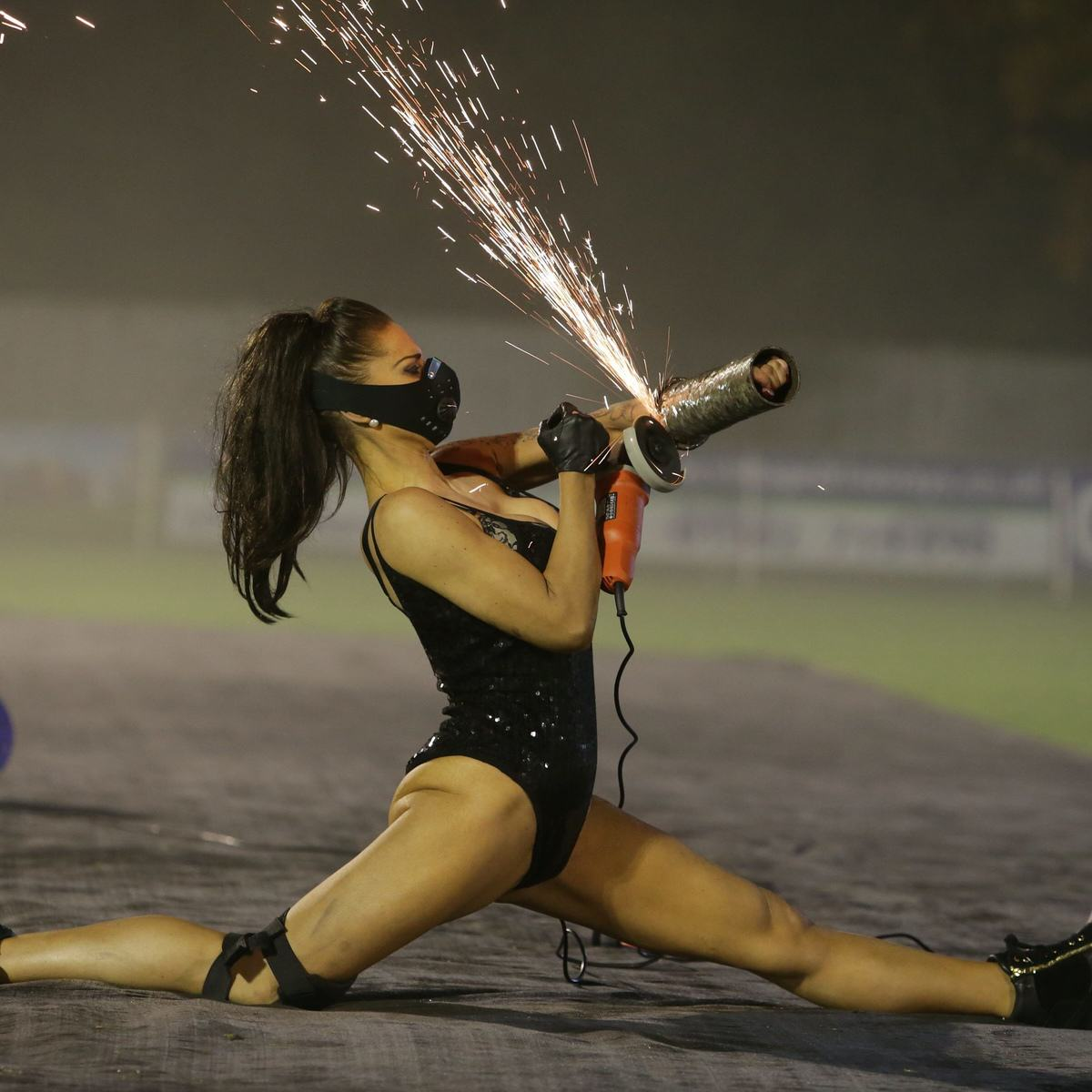 Mayor Hired Leather Clad Stunt Women For Family Bonfire Night Display UNILAD SWNS SPARKS 00375696