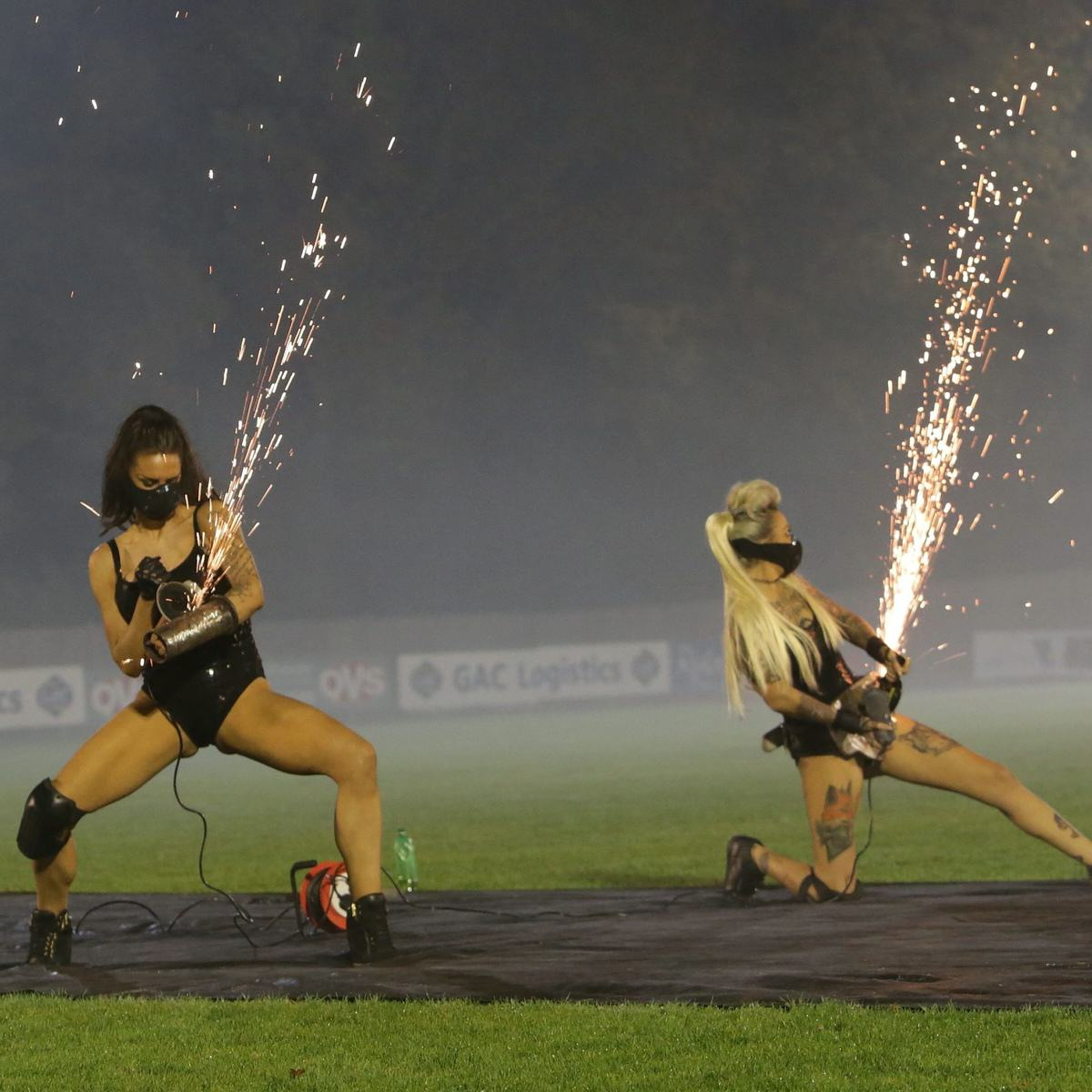 Mayor Hired Leather Clad Stunt Women For Family Bonfire Night Display UNILAD SWNS SPARKS 0208355