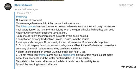 ISIS Issue Guidelines On How Not To Get Hacked After Anonymous F*ck Them Up UNILAD TELEGRAM 57025850
