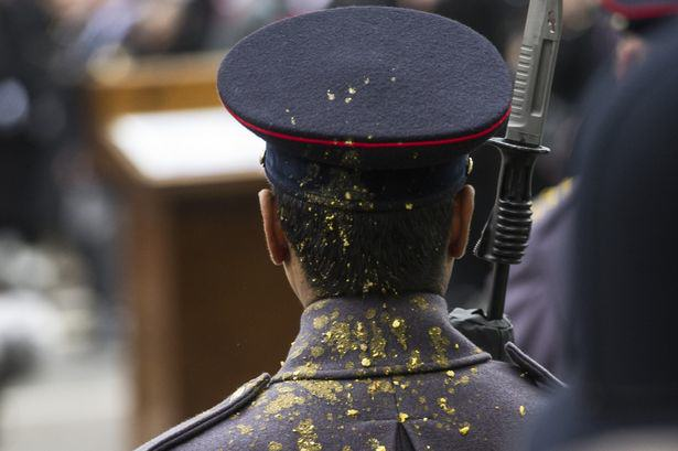 Soldier Keeps Composure As Hes Vomited On By Fellow Trooper At Remembrance Sunday Event UNILAD soldier sick 132559