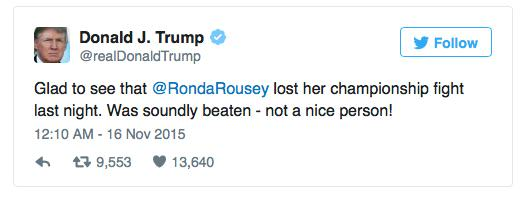Holly Holm Proves How Much Of A Class Act She Is Following Rousey Domination UNILAD trump6032712557