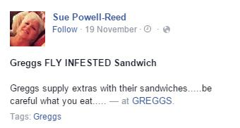 A Woman Discovered Something Truly Disgusting In Her Greggs Sandwich greggs faceboook