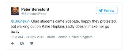 Katie Hopkins Claims Student Walk Out At Her Debate Encouraged By Staff hopkins tweet