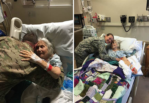 Soldiers Visit Hospital To Return Favour To Hug Lady Who Greeted Them For Years hug lady WEB