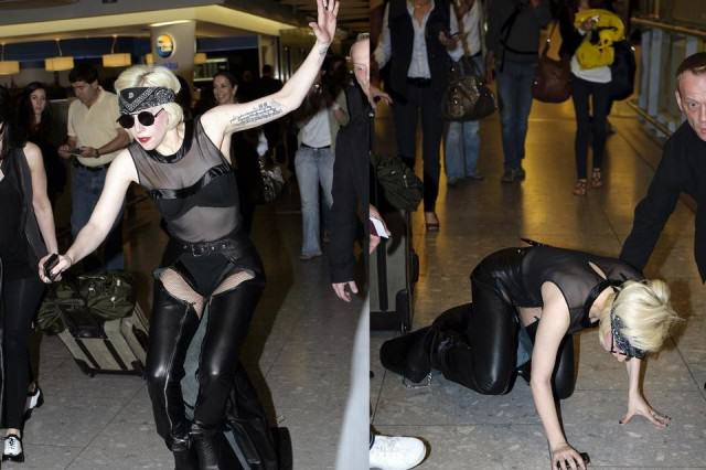 The Stupidest Celebrity F*ck Ups Of 2015 lady gaga fall on london airport 640x426