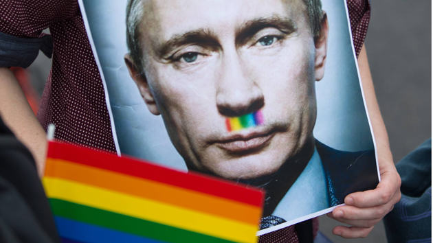 Ridiculous Russian Magazine Reveals List Of Celebrities Forgiven For Being Gay putin rainbow
