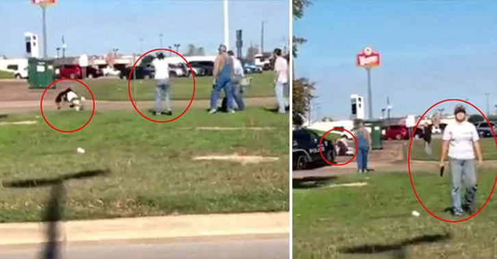 Crazy Video Shows Moment Woman Opened Fire At Purse Snatcher Outside Walmart texas woman FB