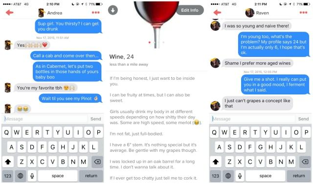 Lad Joins Tinder As A Chatty Glass Of Wine tinder wine
