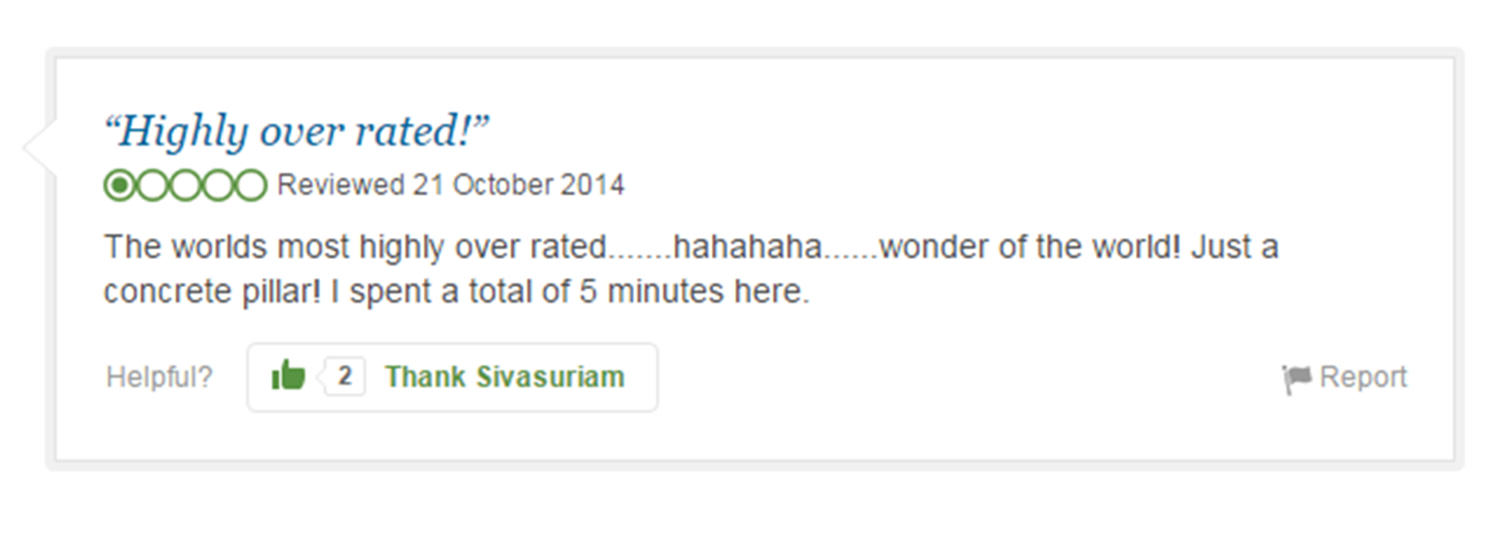 Eight Of The Funniest Trip Advisor Reviews Of Worlds Most Famous Landmarks trip advisor review 2