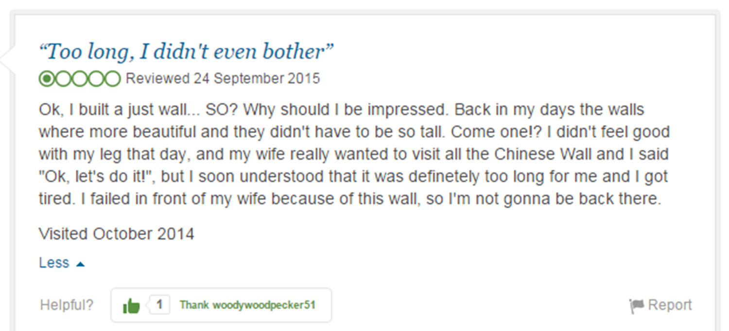 Eight Of The Funniest Trip Advisor Reviews Of Worlds Most Famous Landmarks trip advisor review 6