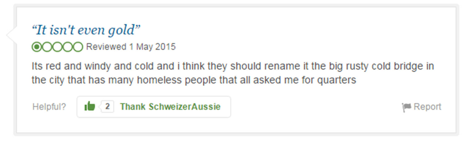 Eight Of The Funniest Trip Advisor Reviews Of Worlds Most Famous Landmarks trip advisor review 7