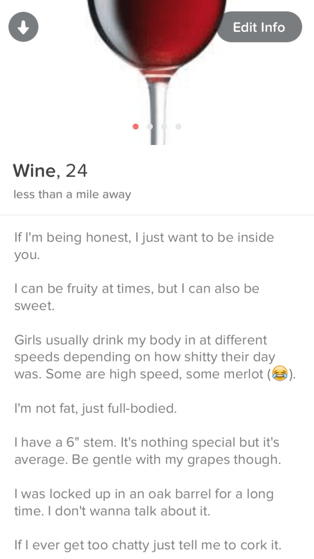 Lad Joins Tinder As A Chatty Glass Of Wine wine1