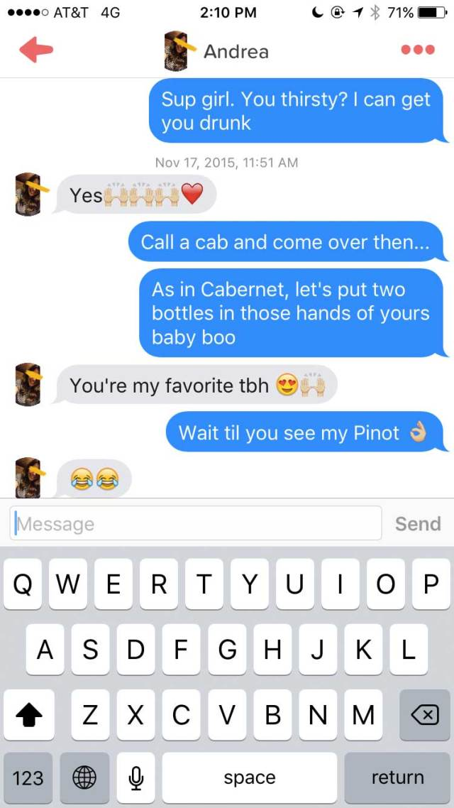 Lad Joins Tinder As A Chatty Glass Of Wine wine2