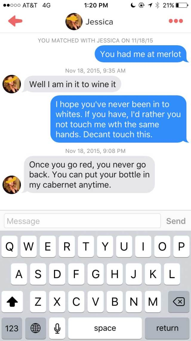 Lad Joins Tinder As A Chatty Glass Of Wine wine6
