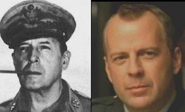 These Pictures Show Putin Isnt The Only Immortal Famous Guy bruce willis greatly resembles wwii general douglas macarthur