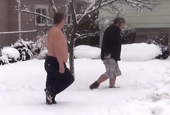 Shirtless Hero Confronts Present Stealing Dickhead Despite The Snow dick1