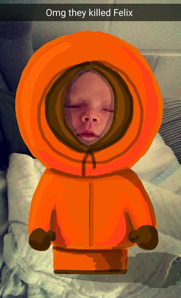 This Dads Snapchat Drawings On His Kid Are Incredible felix7