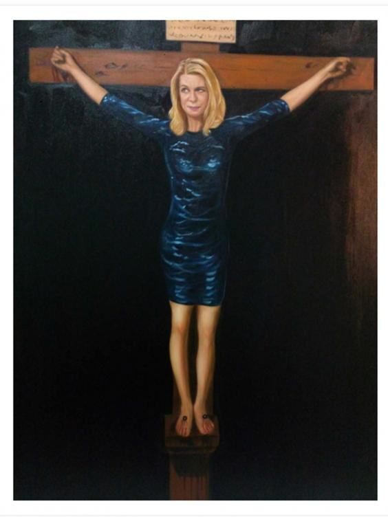 Artist Crucifies Katie Hopkins To Raise Money For Syrian Refugees hopkins portrait