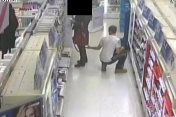 Police Hunting Pervert Caught On CCTV Using His Phone To Look Up Womans Skirt voyeur