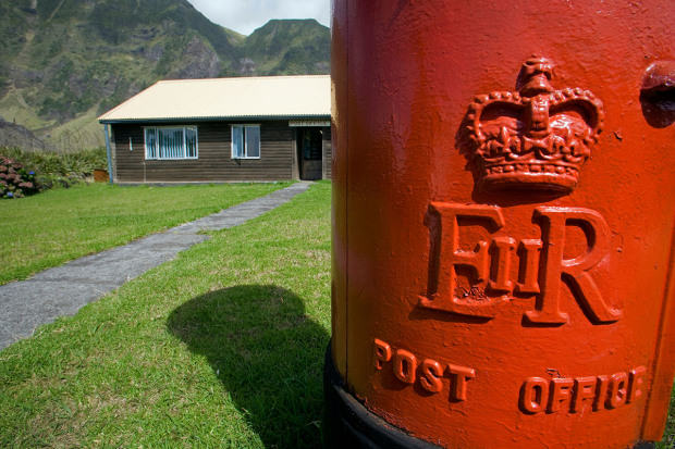 Tristan Da Cunha Island, settlement capital of Edinburgh. The islands Royal Mail Post Office with a red letter box in the front.