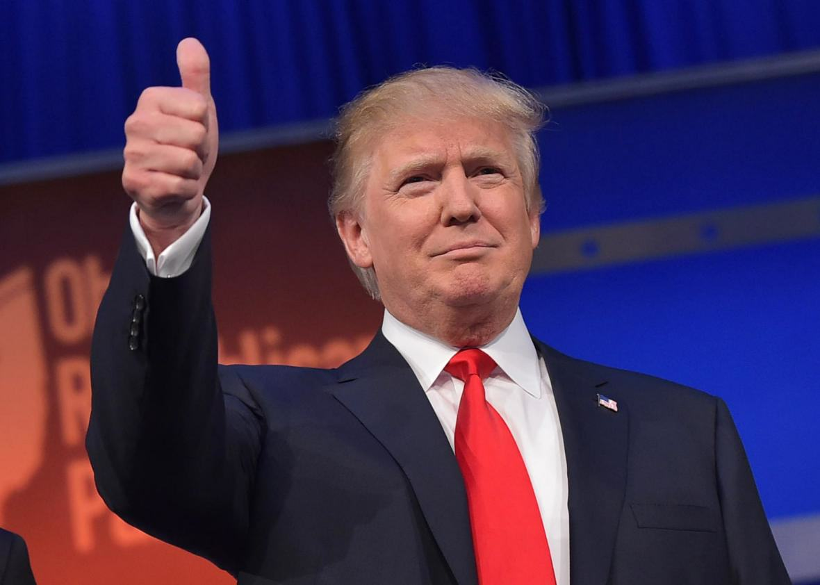 Donald Trump Has Some Very Positive Words For Kim Jong Un, Obviously 483208412 real estate tycoon donald trump flashes the thumbs up.jpg.CROP .promo xlarge2