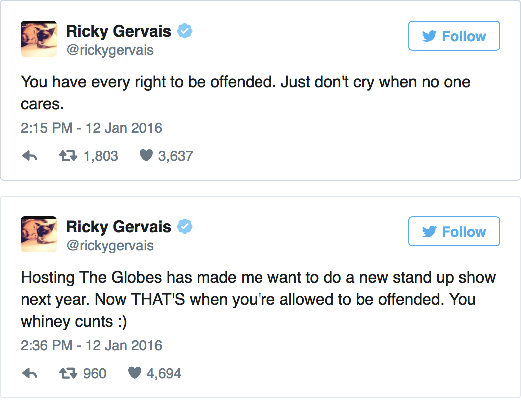Did Ricky Gervais Go Too Far At The Golden Globes Or Are People Oversensitive? L6JZuGd