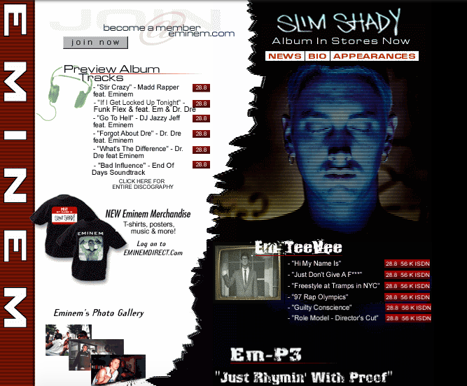 Eminems Website Back In 2000 Is A Blast From The Past Screen Shot 2016 01 06 at 20.43.47