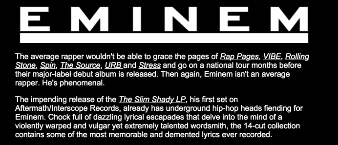 Eminems Website Back In 2000 Is A Blast From The Past Screen Shot 2016 01 06 at 20.44.39