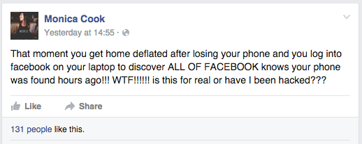 Man Finds Womans Phone, Hijacks Her Tinder And Leaves Creepiest Facebook Post Ever Screen Shot 2016 01 16 at 15.12.24