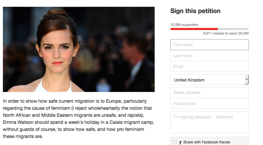 Someones Petitioning Emma Watson To Visit A Migrant Camp For A Week Screen Shot 2016 01 26 at 17.09.52