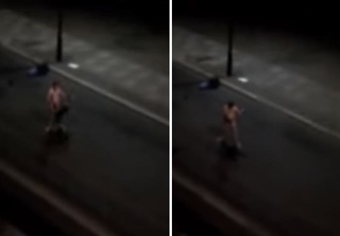 Naked Drunk Man Tries To Fight Cars, Fails Miserably car 1