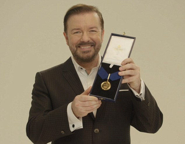 Ricky Gervais Awards Brave Dog Medal For Helping Fight Against Poaching dog gervais 1