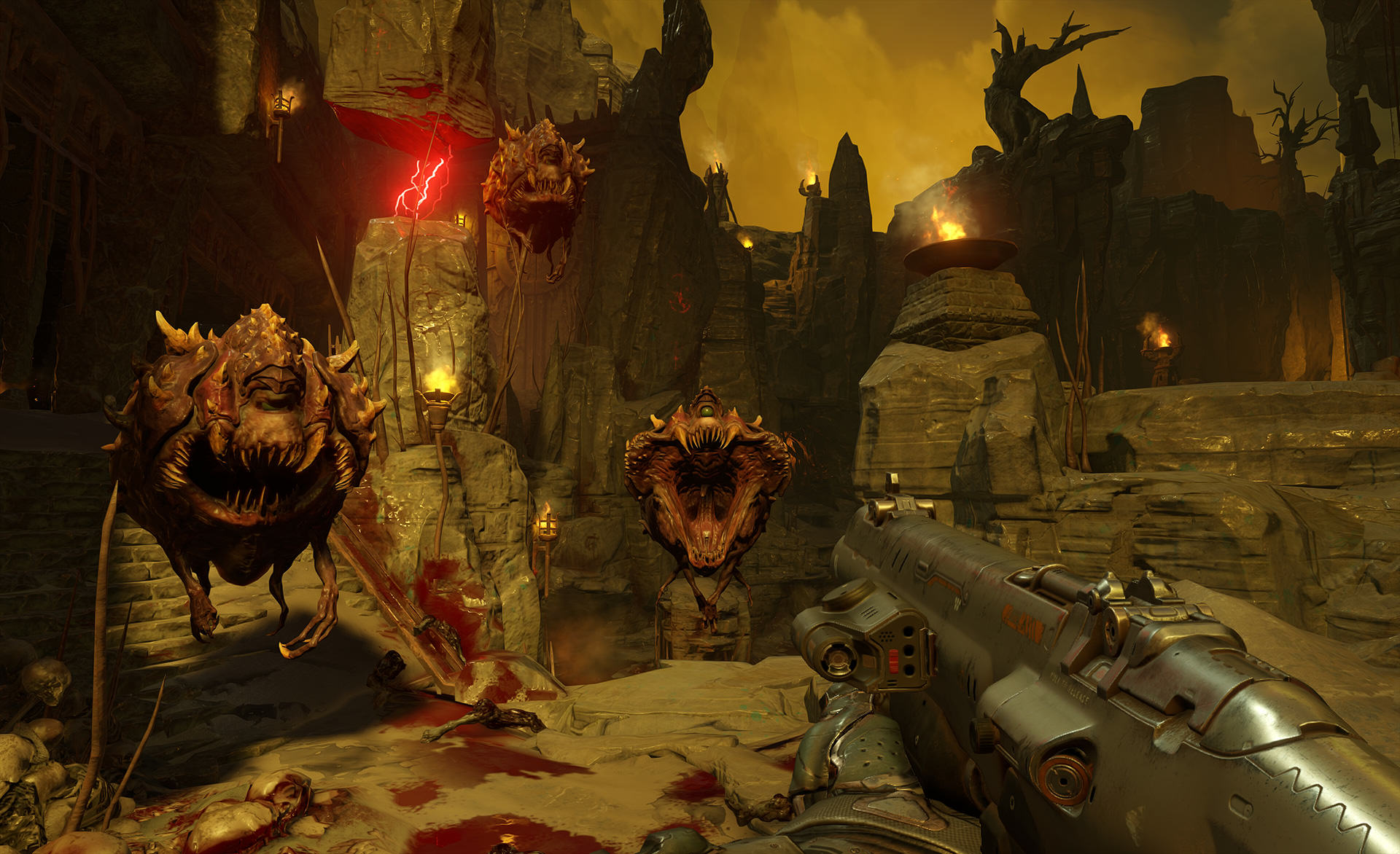 DOOM Higher Difficulty And Non Linear Exploration Confirmed doom cacodemons screenshot 1920.0