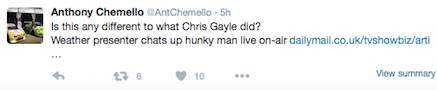 If Chris Gayle Is Fined $10,000 For Flirting, Why Is Nuala Hafner Praised? gayle10